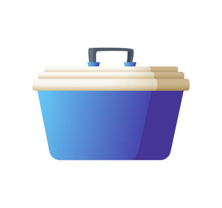 Freezer bag in blue color. Small handy fridge for travel or beach vacation. Vector illustration isolated on white background