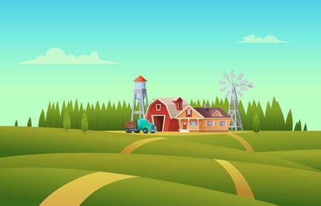 Paisaje rural de verano con una granja de cobertizo rojo, casa, camión, torre de agua y molino de viento.