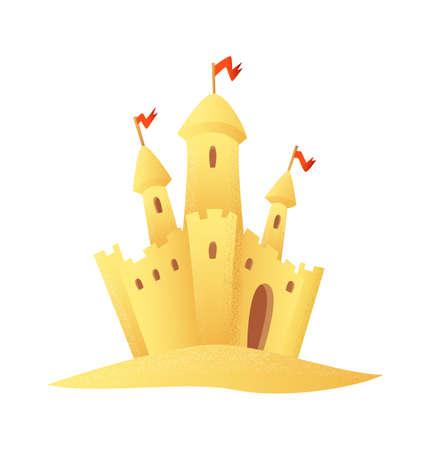 Beach Sandy castle cartoon style vector icon.