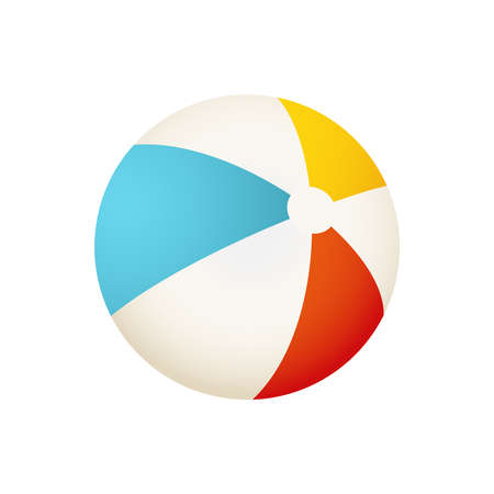 Colorful beach ball vector illustration. White, red, yellow and blue summer ball. Isolated on white background.