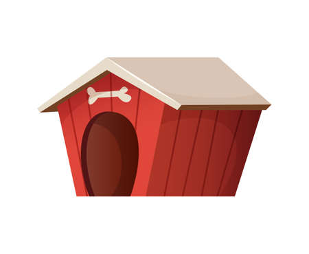 Red cute dog house cartoon style illustration
