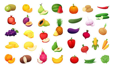 Big set of delicious vegetables and fruits. Vector certoon illustration. Vettoriali