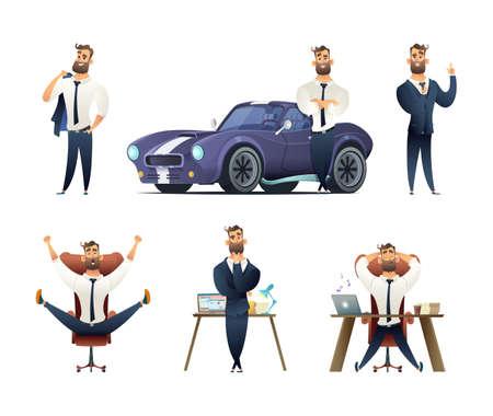 魅力的なひげのビジネスマンコレクション。サクセスフルな男のキャラクター。異なる状況でビジネスマンのキャラクターのセット。