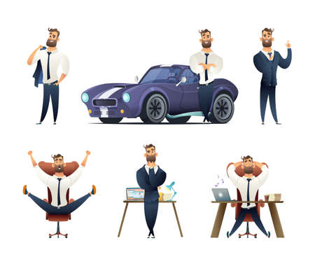Charming beard businessman collection. Sucessfull man character. Set of Business man character in different situations.