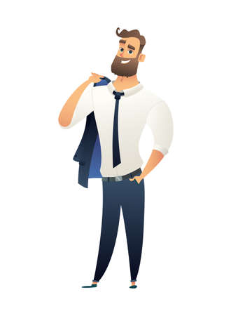 Happy and joyful character Businessman standing and holding his jacket or suit