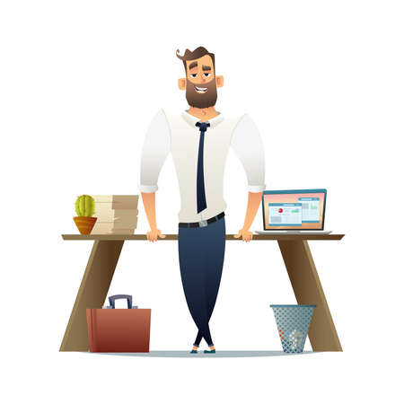 Manager or businessman standing near his workplace. Flat cartoon character design Vectores