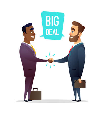Two smiling businessman shaking hands together. Big deal concept illustration.