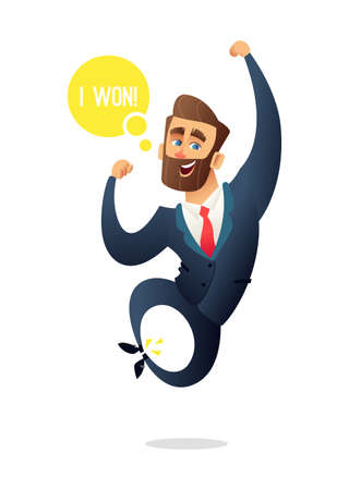 Successful beard businessman character jumps for joy. Manager celebrate wining. Business concept illustration