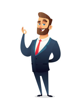 Successful beard businessman character in suit showing ok sign. Business concept illustration