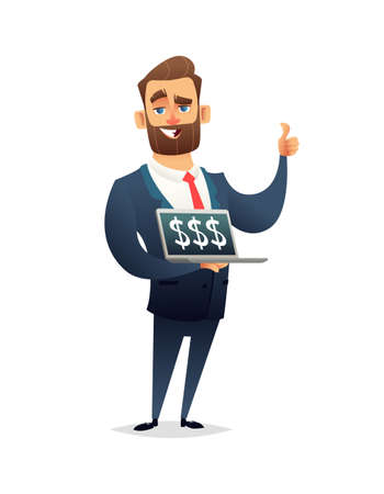 Successful beard businessman character holding laptop notebook and showing the thumb up. Dollar on the screen. Business concept illustration.