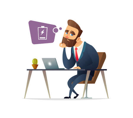 Successful beard businessman character feeling exhausted. Tired manager sitting at working place with computer in office. Business concept. Business concept illustration