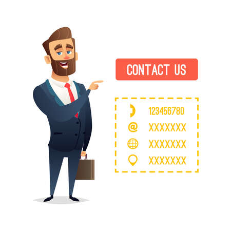 Successful beard businessman character or manager pointing finger o the button with the inscription contact us. Template for your contact information. Business concept illustration 일러스트