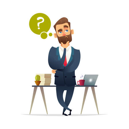 Businessman thinking. Thinking man surrounded by question marks and idea. Vector flat cartoon design illustration isolated on white background.