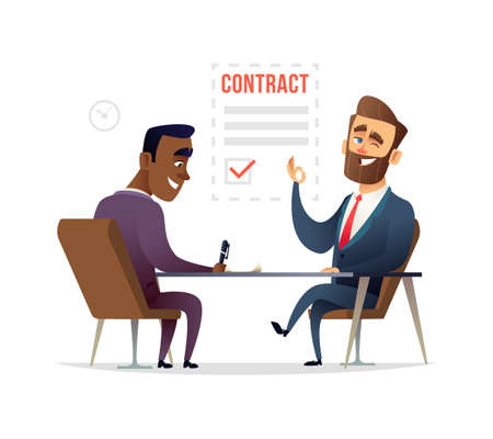 Partners signing contract agreement vector illustration Illustration