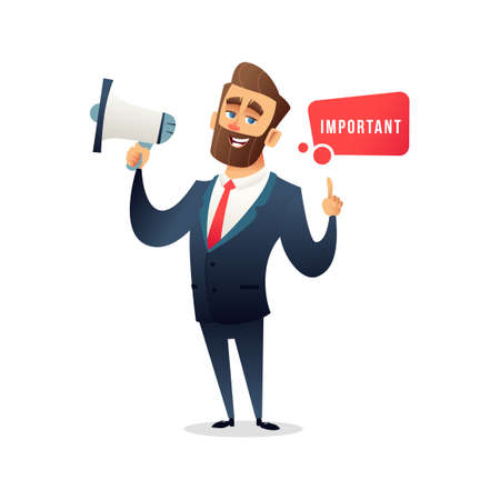 Successful bearded businessman or manager saying something in loudspeaker vector illustration