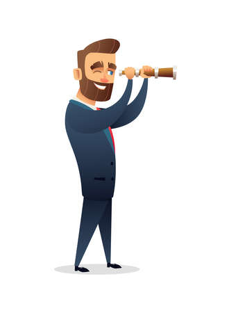 Successful beard businessman character looking through a magnifying glass vector illustration