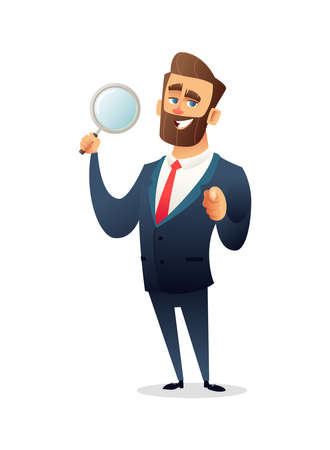 Successful bearded businessman character holds a magnifying glass and points a finger at you vector illustration