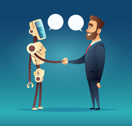 A robot and a man greeted. meeting of artificial intelligence and businessman