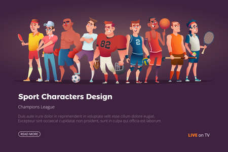 Set of different characters of summer sports cartoon illustration