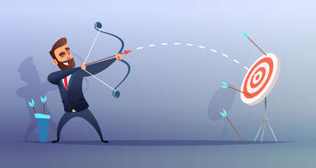 Successful businessman aiming at the target, business concept illustration.