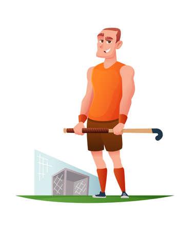 Grappige vrolijke speler in het ontwerp van het gebiedshockey Vectorbeeldverhaal Vector Illustratie