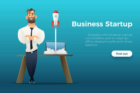 Businessman standing besides the desk with a laptop, business startup concept illustration. Ilustração