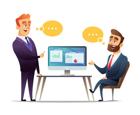 Two businessmen discuss the strategy of doing business. The employee tells the boss about business ideas. Predprenimateli talk about commercial enterprise Illustration