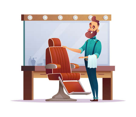 Happy barbershop hairdresser invites you to a chair. Design  of charming cartoon barber character.