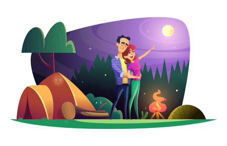 Loving couple watches the full moon and spends time outdoors. Guy and girl at the campsite