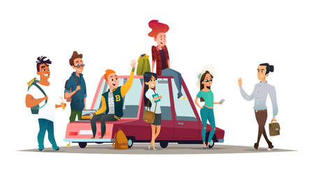 Young people meet and say hello gesture. Meeting of students near the car. Illustration