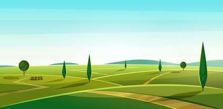 Road on the hills. Summer landscape. Rural valley view. Beautiful green fields with and meadow, mountains and blue sky Cartoon vodern illustration Illustration