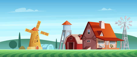 Colorful countryside landscape with a beautiful village house. Rural location. Wheat field. Farm landscape