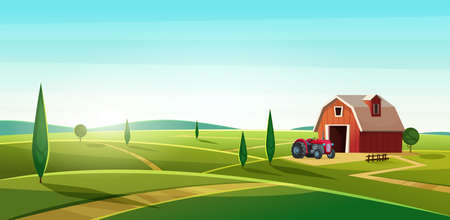 Colorful countryside landscape with a barn and tractor on the hill. Rural location. Cartoon modern vector illustration. Vectores