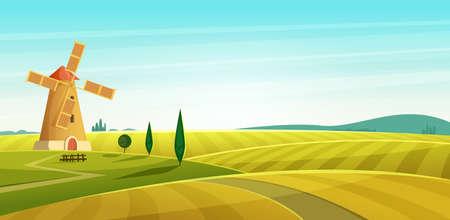 Paisaje agrícola, molino de viento en campo, paisaje rural. Ilustración de vector de estilo moderno de dibujos animados.