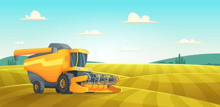 Rural summer landscape with Combine harvester agriculture machine harvesting golden ripe wheat field. Vector Illustratie