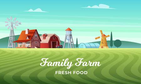 Colorful countryside landscape with a beautiful farm village. Rural location. Wheat field. Farm landscape