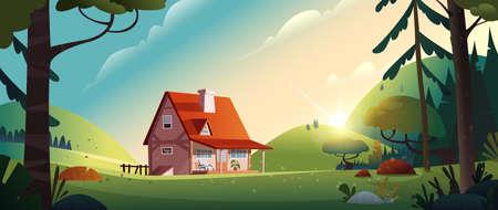 Casa de campo en el bosque. Granja en el campo. Cabaña entre árboles. Ilustración vectorial de dibujos animados.
