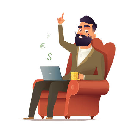 Freelancer site in a chair and earn money. Freelance concept vector illustration in cartoon style. Home office workplace. Hipster bearded freelancer working remotely from his laptop Illustration