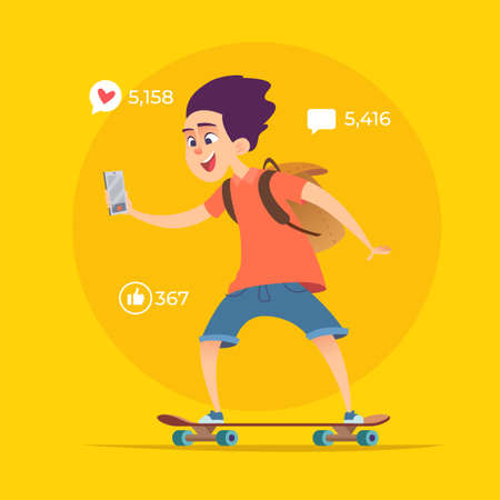 Young boy blogger rides on skateboard and shoots video or streams online.