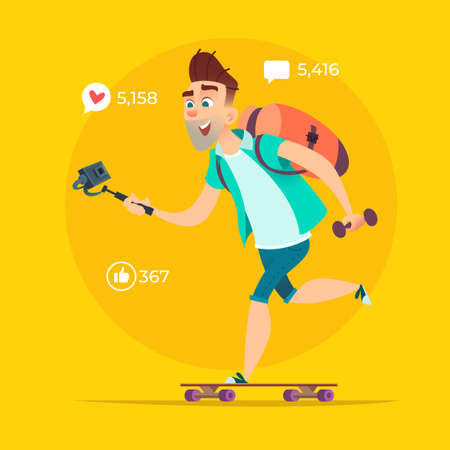 Blogger rides on skateboard and shoots video or streams online.