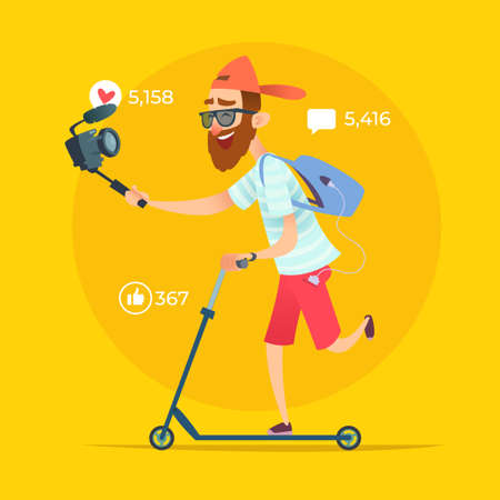 Hipster Blogger rides on skateboard and shoots video or streams online.