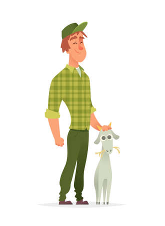 Young farmer standing and stroking the goats head. Character modern design.