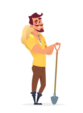 Chifull farmer holding farm shovel. Character design illustration