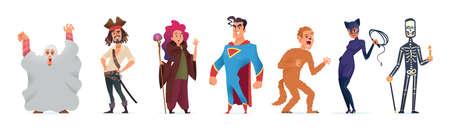 Persone in costume per Halloween. Character design per una felice festa di Halloween. Illustrazione vettoriale