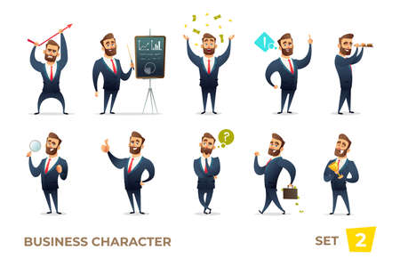 Businessman collection. Bearded charming business men in different situations. Modern character design