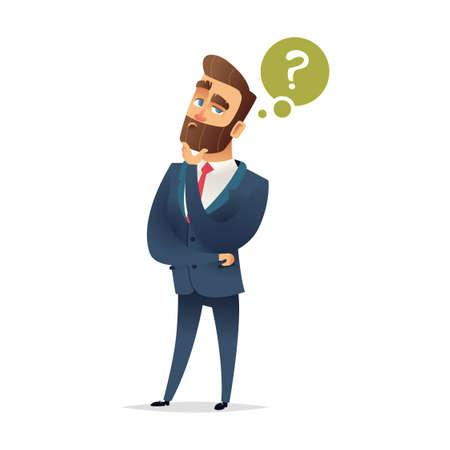Bebaarde charmante man denkt na. Vraagteken en manager. Peinzende zakenman. Zakenman denken. Vector stripfiguur ontwerp