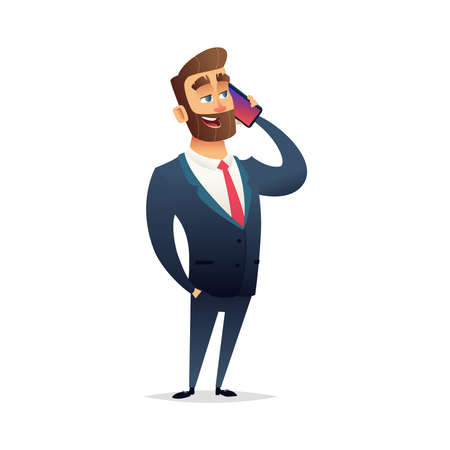 Charming businessman talking on the phone. The manager holds a smartphone in his hand and says something. Cartoon modern flat character design Illusztráció