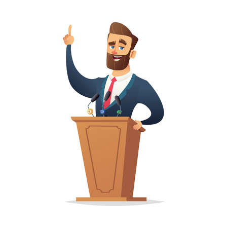 Bearded charismatic male speaker stands behind the podium and speaks. Cartoon flat character designe
