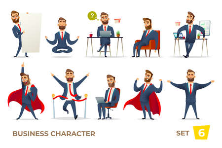 Businessman collection. Bearded charming business men in different situations. Manager character design
