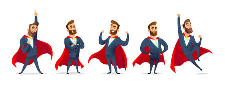 Businessman in a superhero costume. Character collection of business hero in various poses. Super manager set Stok Fotoğraf - 113669514